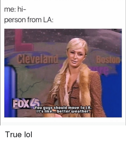 Funny, Lol, and True: me: hi  person from LA:  eland  FOX  You quys should moue to LA.  It'slike... better weather. True lol