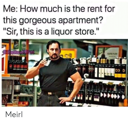 "Gorgeous, Liquor Store, and MeIRL: Me: How much is the rent for  this gorgeous apartment?  ""Sir, this is a liquor store.""  OneReamp M  65 Meirl"