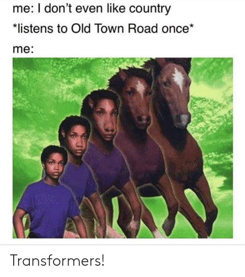 Transformers: me: I don't even like country  listens to Old Town Road once*  me: Transformers!