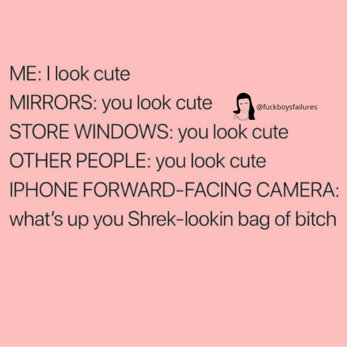 Bitch, Cute, and Iphone: ME: I look cute  MIRRORS: you look cute uctoptalture  STORE WINDOWS: you look cute  OTHER PEOPLE: you look cute  IPHONE FORWARD-FACING CAMERA:  what's up you Shrek-lookin bag of bitch