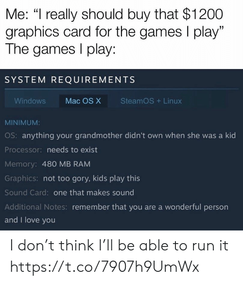 "The Games: Me: ""I really should buy that $1200  graphics card for the games I play""  The games play:  SYSTEM REQUIREMENTS  SteamOS Linux  Windows  Mac OS X  MINIMUM:  OS: anything your grandmother didn't own when she was a kid  Processor: needs to exist  Memory: 480 MB RAM  Graphics: not too gory, kids play this  Sound Card: one that makes sound  Additional Notes: remember that you are a wonderful person  and I love you I don't think I'll be able to run it https://t.co/7907h9UmWx"