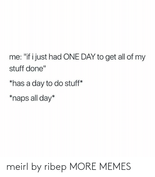 "Dank, Memes, and Target: me: ""if i just had ONE DAY to get all of my  stuff done""  *has a day to do stuff*  *naps all day* meirl by ribep MORE MEMES"