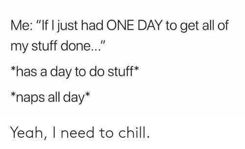 """Naps: Me: """"If Ijust had ONE DAY to get all of  my stuff done...""""  """"has a day to do stuff*  """"naps all day* Yeah, I need to chill."""
