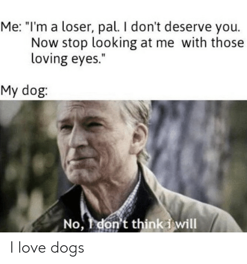 "Dogs, Love, and Dog: Me: ""I'm a loser, pal. I don't deserve you.  Now stop looking at me with those  loving eyes.""  My dog:  No, don't thinki will I love dogs"