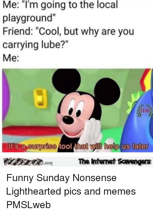 """Funny, Memes, and Cool: Me: """"I'm going to the local  playground""""  Friend: """"Cool, but why are you  carrying lube?""""  Me:  EIt's a surprise tool thet will help us later  Finsiye.comThe Intemet Scavengers <p>Funny Sunday Nonsense  Lighthearted pics and memes  PMSLweb </p>"""