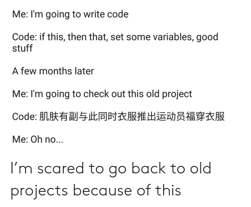 Good, Stuff, and Old: Me: I'm going to write code  Code: if this, then that, set some variables, good  stuff  A few months later  Me: I'm going to check out this old project  Code: 肌肤有副与此同时衣服推出运动员福穿衣服  Me: Oh no... I'm scared to go back to old projects because of this