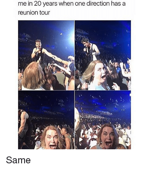 Memes, One Direction, and 🤖: me in 20 years when one direction hasa  reunion tour Same