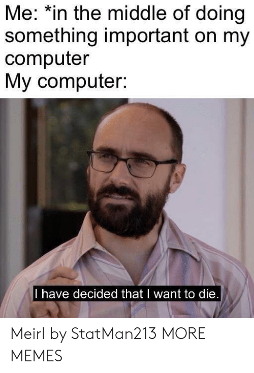 i want to die: Me: *in the middle of doing  something important on my  computer  My computer:  I have decided that I want to die Meirl by StatMan213 MORE MEMES