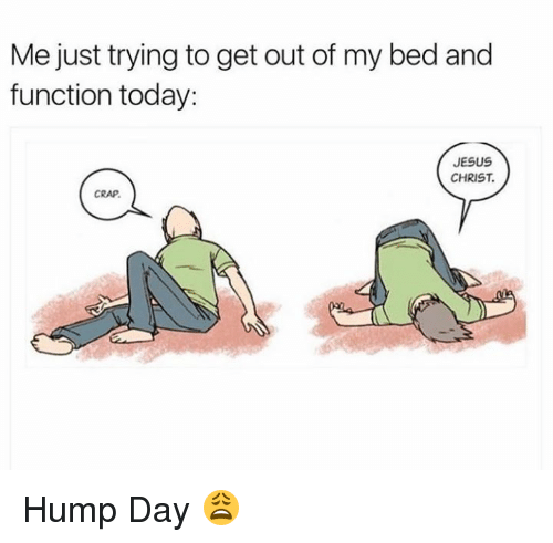 Hump Day: Me just trying to get out of my bed and  function today:  JESUS  CHRIST  CRAP Hump Day 😩
