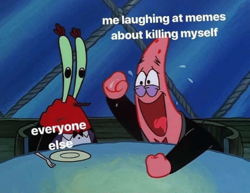 Memes, Laughing, and Everyone: me laughing at memes  about killing myself  everyone  else