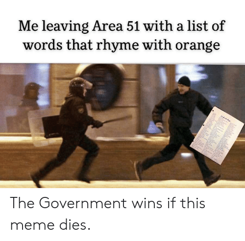 A List Of: Me leaving Area 51 with a list of  words that rhyme with orange The Government wins if this meme dies.