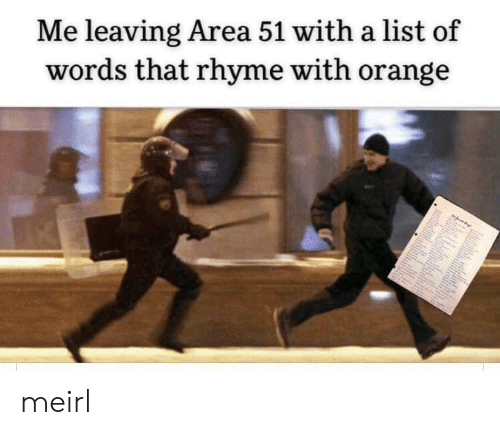 rhyme: Me leaving Area 51 with a list of  words that rhyme with orange meirl