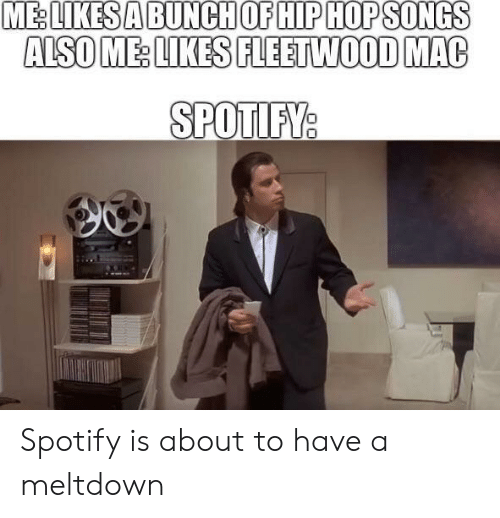 Reddit, Spotify, and Fleetwood Mac: ME:  LIKESA  BUNCH  OF  HIP  HOPSONGS  ALSO ME LIKES FLEETWOOD MAC  SPOTIFV  0 Spotify is about to have a meltdown