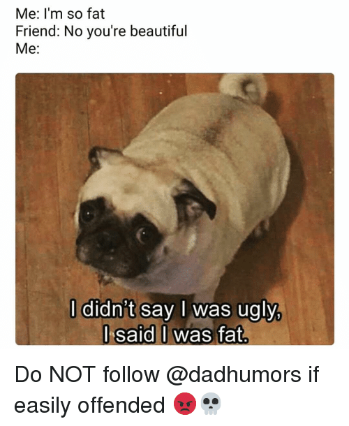 Fat Friend: Me: l'm so fat  Friend: No you're beautiful  Me:  l didn't say l was ugly  l said I was fat Do NOT follow @dadhumors if easily offended 😡💀