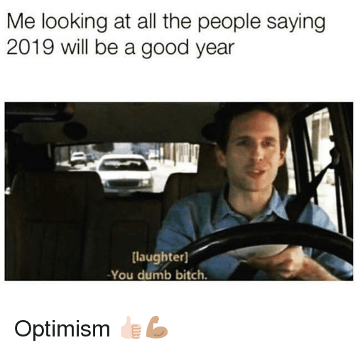 Optimism: Me looking at all the people saying  2019 will be a good year  laughter]  -You dumb bitch. Optimism 👍🏻💪🏽
