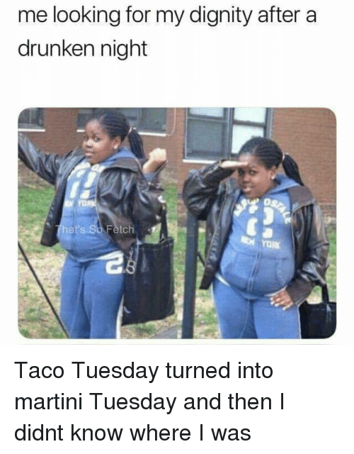 taco tuesday: me looking for my dignity after a  drunken night  hat's So Fetch Taco Tuesday turned into martini Tuesday and then I didnt know where I was