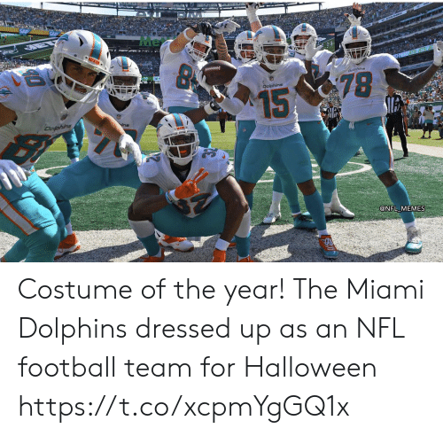 Football, Halloween, and Memes: Me  MIAS  Doline  78  Dolphins  15  Dofphins  @NFL MEMES Costume of the year! The Miami Dolphins dressed up as an NFL football team for Halloween https://t.co/xcpmYgGQ1x