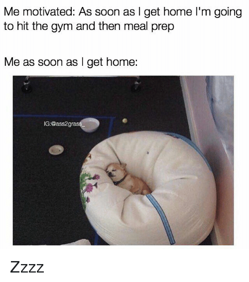 preps: Me motivated: As soon as I get home l'm going  to hit the gym and then meal prep  Me as soon as I get home:  G:@ass2gras Zzzz
