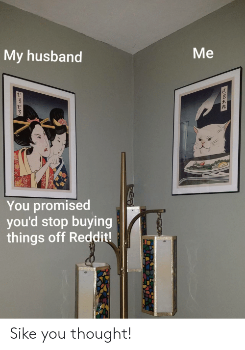 Me My: Me  My husband  You promised  you'd stop buying  things off Reddit! Sike you thought!