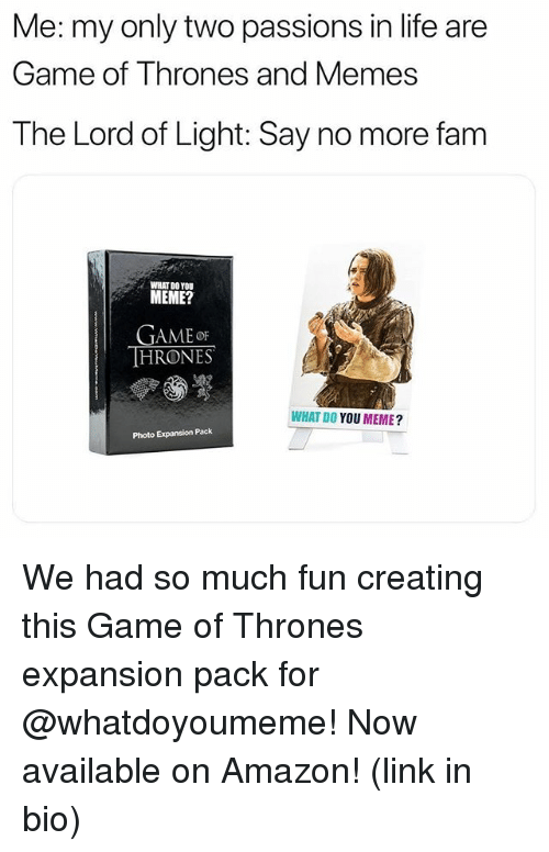 Say No More Fam: Me:my only two passions in life are  Game of Thrones and Memes  The Lord of Light: Say no more fam  WHAT D0 YOU  MEME?  GAMEoF  HRONES  WHAT DO YOU MEME?  Photo Expansion Pack We had so much fun creating this Game of Thrones expansion pack for @whatdoyoumeme! Now available on Amazon! (link in bio)