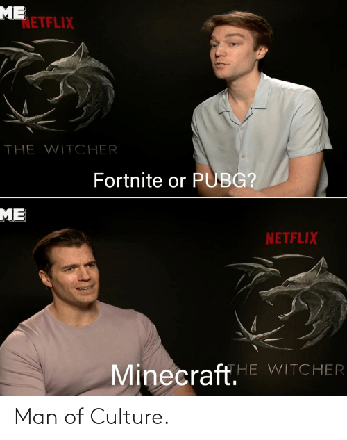 minecraft: ME  NETFLIX  THE WITCHER  Fortnite or PUBG?  ME  NETFLIX  Minecraft.E WITCHER Man of Culture.