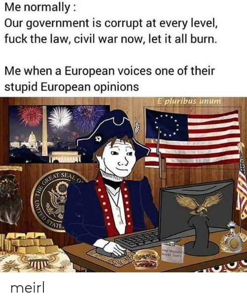 Civil War, Fuck, and Seal: Me normally:  Our government is corrupt at every level,  fuck the law, civil war now, let it all burn.  Me when a European voices one of their  stupid European opinions  E pluribus unum  SEAL  O  HE GREAT  STATE  Her Majertys  Royal Tears  UNITED ST meirl