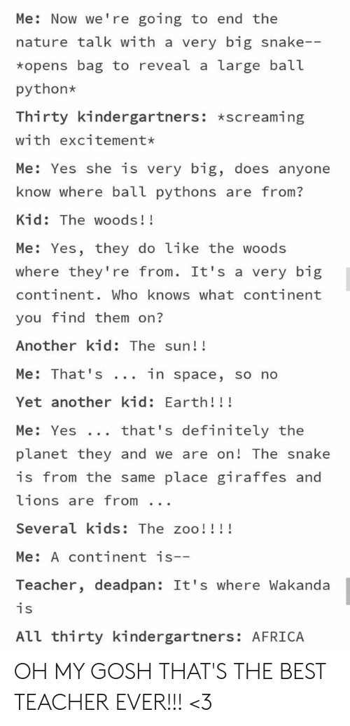 Wakanda: Me: Now we're going to end the  nature talk with a very big snake--  *opens bag to reveal a large ball  python  Thirty kindergartners: *screaming  with excitement*  Me: Yes she is very big, does anyone  know where ball pythons are from?  Kid: The woods!!  Me: Yes, they do like the woods  where they're from. It's a very big  continent. Who knows what continent  you find them on?  Another kid: The sun!!  Me: That 's  in space, so no  Yet another kid: Earth!!!  that's definitely the  Me: Yes ..  planet they and we are on! The snake  is from the same place giraffes and  lions are from  Several kids: The zoo!!!!  Me: A continent is--  Teacher, deadpan: It's where Wakanda  is  All thirty kindergartners: AFRICA OH MY GOSH THAT'S THE BEST TEACHER EVER!!! <3