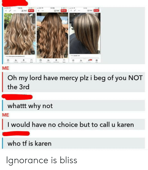 Ignorance, Mercy, and Who: ME  Oh my lord have mercy plz i beg of you NOT  the 3rd  whattt why not  ME  I would have no choice but to call u karen  who tf is karen Ignorance is bliss