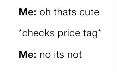 Cute, Humans of Tumblr, and Price: Me: oh thats cute  checks price tag*  Me: no its not