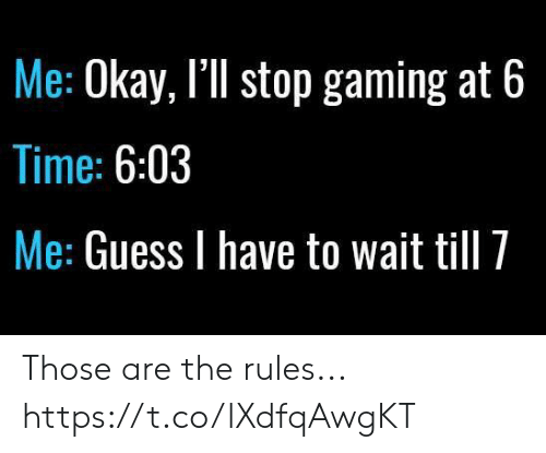 Video Games, Guess, and Okay: Me: Okay, I'll stop gaming at 6  Time: 6:03  Me: Guess I have to wait till 7 Those are the rules... https://t.co/lXdfqAwgKT