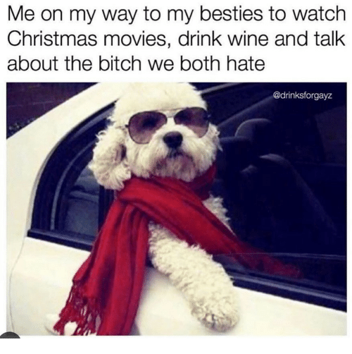 Drink Wine: Me on my way to my besties to watch  Christmas movies, drink wine and talk  about the bitch we both hate  @drinksforgayz