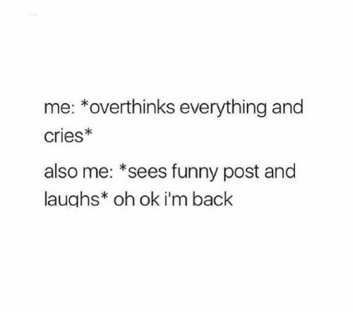 funny post: me: *overthinks everything and  cries*  also me: *sees funny post and  laughs* oh ok i'm back