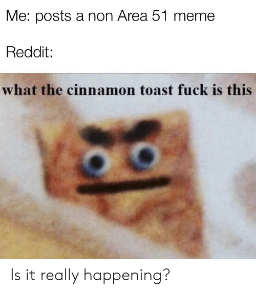 Meme, Reddit, and Fuck: Me: posts a non Area 51 meme  Reddit:  what the cinnamon toast fuck is this Is it really happening?
