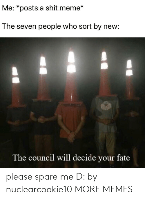 Spare Me: Me: *posts a shit meme*  The seven people who sort by new:  The council will decide your fate please spare me D: by nuclearcookie10 MORE MEMES
