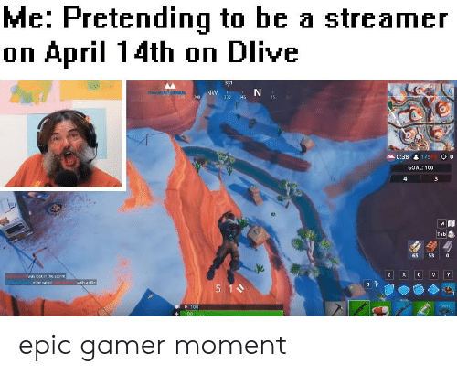 Goal, April, and Epic: Me: Pretending to be a streamer  on April 14th on Dlive  331  330 345  0:38 17  0  GOAL: 100  4  Tab  65 530  was fost in  the storm  0 100  100 10 epic gamer moment