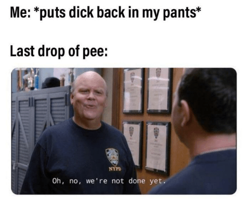 Nypd: Me: *puts dick back in my pants*  Last drop of pee:  NYPD  Oh, no, we're not done yet.