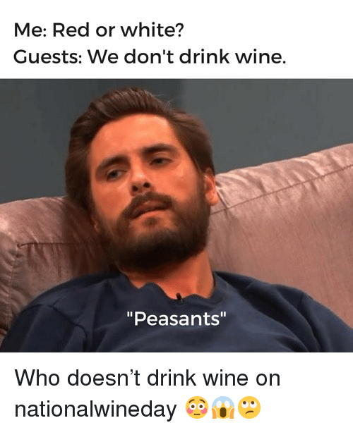 """Drink Wine: Me: Red or white?  Guests: We don't drink wine.  """"Peasants"""" Who doesn't drink wine on nationalwineday 😳😱🙄"""