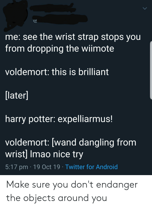Android, Harry Potter, and Twitter: me: see the wrist strap stops you  from dropping the wiimote  voldemort: this is brilliant  [later]  harry potter: expelliarmus!  voldemort: [wand dangling from  wrist] Imao nice try  5:17 pm 19 Oct 19 Twitter for Android Make sure you don't endanger the objects around you