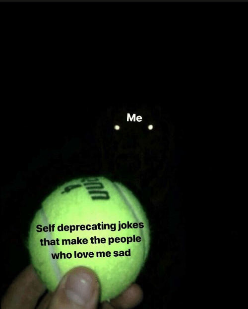 Love, Jokes, and Sad: Me  Self deprecating jokes  that make the people  who love me sad