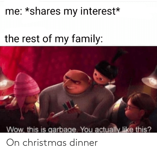 dinner: me: *shares my interest*  the rest of my family:  Wow, this is garbage. You  actually like this? On christmas dinner
