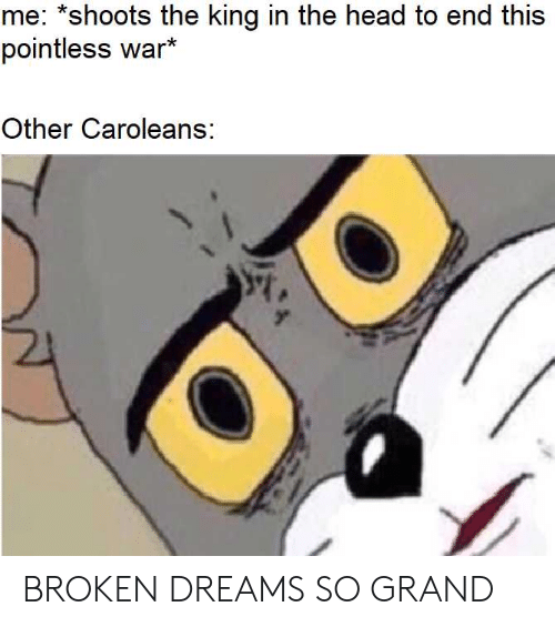 Head, History, and Grand: me: *shoots the king in the head to end this  pointless war  Other Caroleans: BROKEN DREAMS SO GRAND