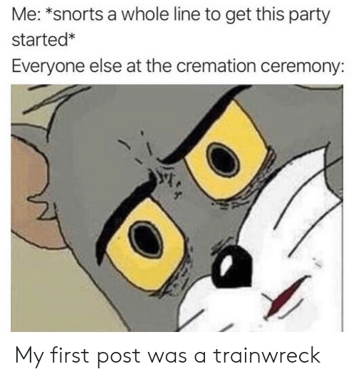 First Post: Me: *snorts a whole line to get this party  started*  Everyone else at the cremation ceremony: My first post was a trainwreck