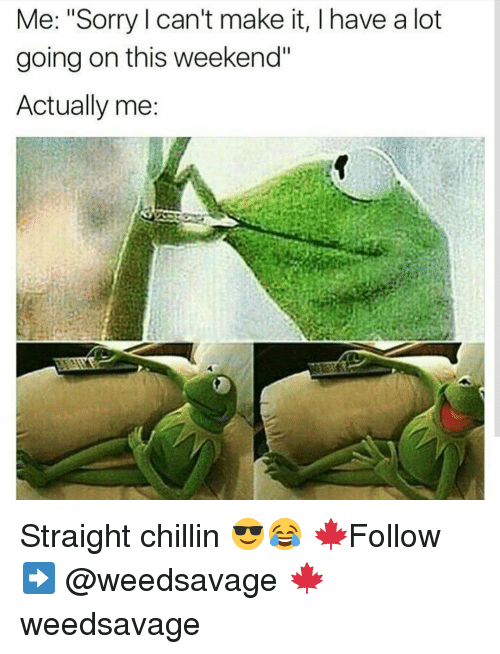 """Straight Chillin: Me: """"Sorry can't make it, l have a lot  going on this weekend""""  Actually me Straight chillin 😎😂 🍁Follow ➡ @weedsavage 🍁 weedsavage"""