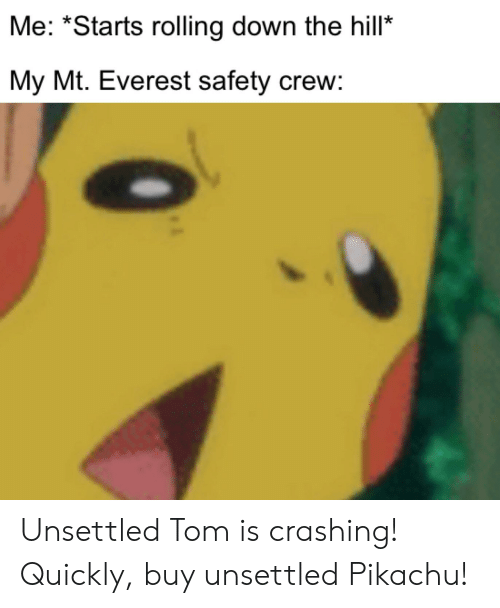 """Mount Everest, Pikachu, and Everest: Me: """"Starts rolling down the hill  My Mt. Everest safety crew: Unsettled Tom is crashing! Quickly, buy unsettled Pikachu!"""