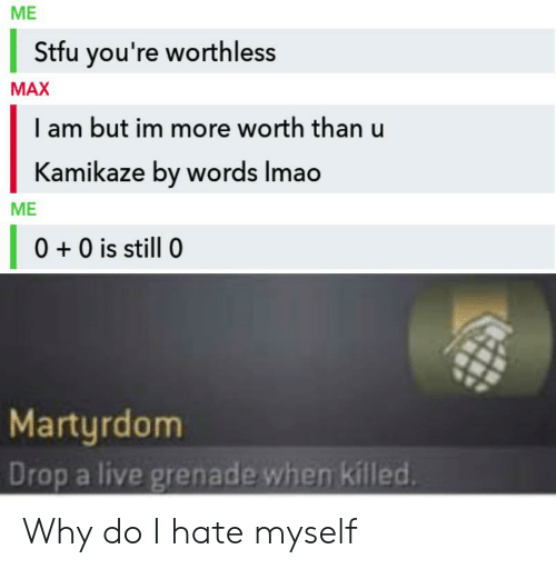 Stfu, Live, and Martyrdom: ME  Stfu you're worthless  MAX  I am but im more worth than u  Kamikaze by words Imao  ME  0 0 is still 0  Martyrdom  Drop a live grenade when killed. Why do I hate myself