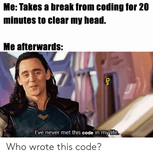 My Head: Me: Takes a break from coding for 20  minutes to clear my head.  Me afterwards:  I've never met this code in my life Who wrote this code?