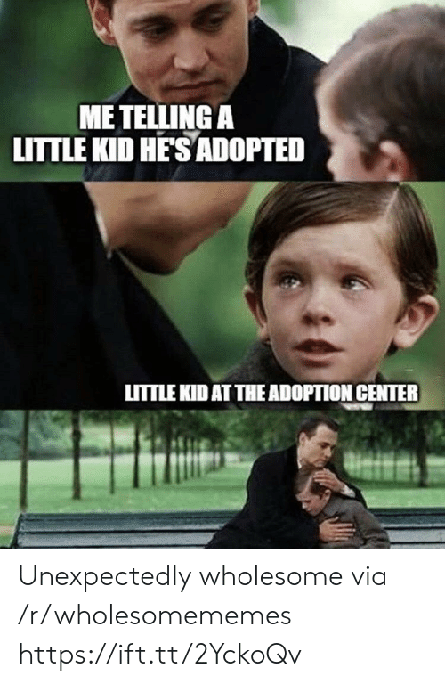 Wholesome, Via, and Kid: ME TELLING A  LITTLE KID HE'SADOPTED  LITTLE KID AT THE ADOPTION CENTER Unexpectedly wholesome via /r/wholesomememes https://ift.tt/2YckoQv