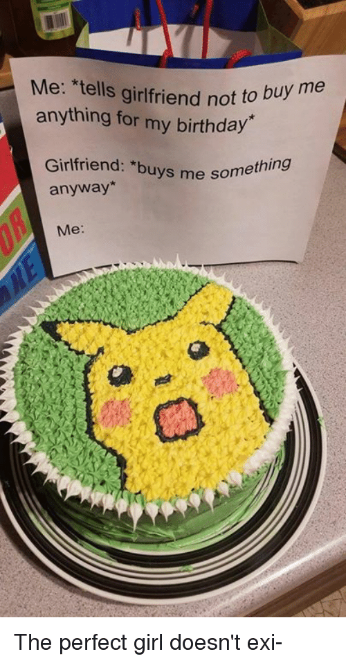 Birthday, Dank, and Perfect Girl: Me: *tells girlfriend not  anything for my birthday  Girlfriend: *buys me some  anyway  Me The perfect girl doesn't exi-