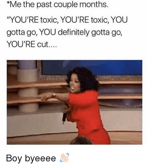 "Definitely, Girl Memes, and Boy: Me the past couple months.  ""YOU'RE toxic, YOU'RE toxic, YOU  gotta go, YOU definitely gotta go,  YOU'RE cut... Boy byeeee 👋🏻"
