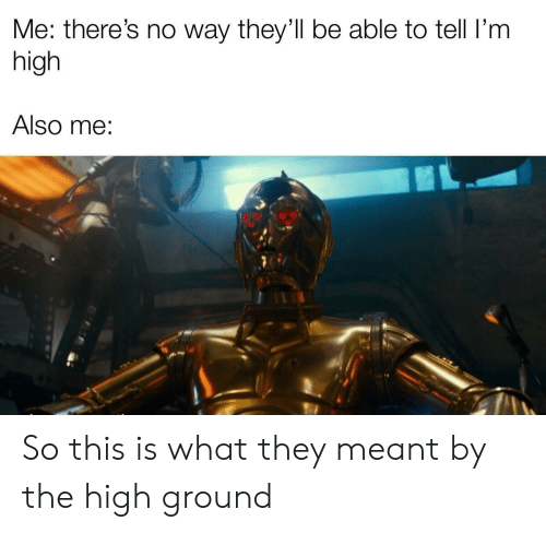 They, What, and This: Me: there's no way they'll be able to tell I'm  high  Also me: So this is what they meant by the high ground